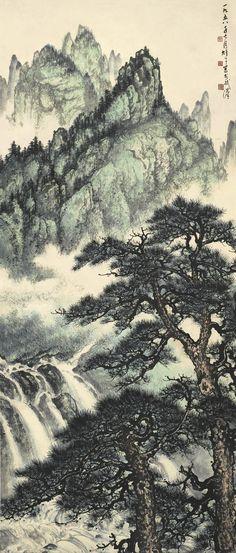 li, xiongcai waterfall in verd Wallpaper Iphone Love, Rose Gold Wallpaper, New Year Wallpaper, Desktop Wallpapers, Chinese Painting, Chinese Art, Japanese Drawings, Japan Painting, Landscape Paintings