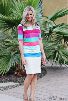 Stand out in a crowd... I love this colorful striped Gigi top from LuLaRoe, paired with a LuLaRoe Cassie skirt. Click to shop LuLaRoe and for more style inspiration!