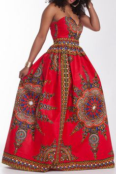 Women's Sexy V Neck Printing Maxi Dress Sleeveless Floor-length Wrapped Chest Casual Dress Beach Holiday Dress African Attire, African Wear, African Style, African Design, African Print Dresses, African Dress, African Clothes, African Prints, Sexy Dresses