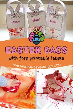 Put together easy toddler Easter Bags that they will love making! The process involves cookie cutters and lots of stamping onto bags. Add handles and the free printable bunny labels and they are ready for an egg hunt! #easter #easterbag #art #spring #egghunt #Easteregghunt #toddler #toddlereaster #bunny #printable #AGE2 #teaching2and3yearolds Spring Activities, Toddler Activities, Easter Cookie Cutters, Time Planner, Spring Books, Toddler Behavior, Spring Theme, Toddler Art, Craft Bags