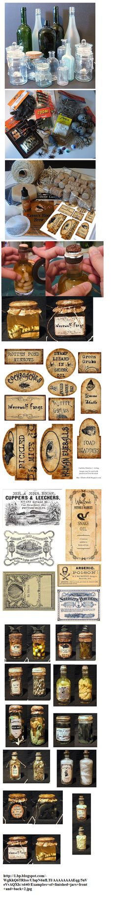examples of apothecary jars & labels Halloween decor Halloween Prop, Soirée Halloween, Halloween Potions, Halloween Bottles, Halloween Labels, Halloween Projects, Diy Halloween Decorations, Holidays Halloween, Halloween Forum