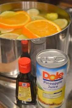 Home-made Air Freshener  Make your Home smell good  -Throw in a few sliced lemons, limes, and oranges  -Add a can or two of pineapple juice  -Drizzle an ounce of coconut extract  -Top it off with a few cups of water and.....  Let it simmer all day long!    If you aren't a coconut kind of person you could simply do citrus and pineapple! You can add more or less of these ingredients.  Remember to turn the stove off when you leave your home. You can add more liquids as it simmers away.
