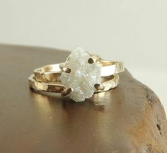Raw Diamond Ring Boho bride white wedding beauty www.graceloveslace.com