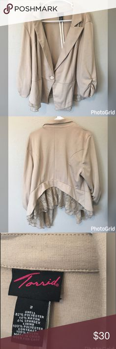 Torrid Blazer Lace Peplum size 2 Purchased from torrid fits true to size cute lace peplum bottom with ruched 3/4 sleeves a khaki tan color worn gently has a few scuff marks from brushing against something on back can be washed out easily torrid Jackets & Coats Blazers