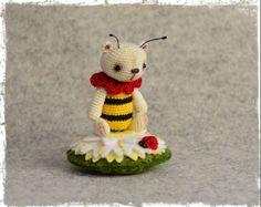 "Miniature, 2"" high, Crochet, Amigurumi, Thread Artist Bear by Debbie Grutzius. www.pinsandpawsprimitives.blogspot.com"