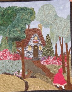 Art Quilt Little Red Riding Hood Quilted Art by HollysHutch