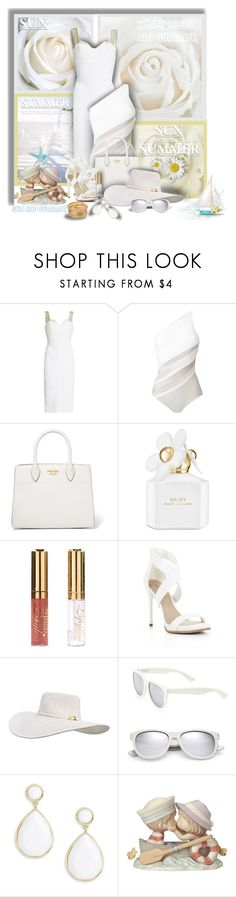 """White for Summer - White roses, sun and summer!"" by sarahguo ❤ liked on Polyvore featuring Victoria Beckham, La Perla, Prada, Marc Jacobs, BCBGMAXAZRIA, Yves Saint Laurent, Trina Turk, Precious Moments and PearlsandLace"