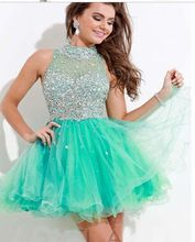 Mint green Navy Blue Peach Puffy Party Dress High Neck puffy Crystal Homecoming Cocktail Dress Bling Bling Short Prom Dress sold by Miss Lady. Hoco Dresses, Dresses Short, Quinceanera Dresses, Dance Dresses, Cute Dresses, Beautiful Dresses, Prom Gowns, Teal Homecoming Dresses, Dresses 2014