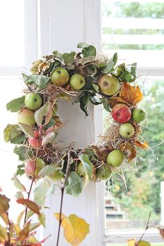 Apple wreath for fall home decor