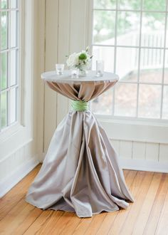 Cocktail Hour: Gray Linens with soft Green Wrap | Photography: Pasha Belman | See More: http://stylemepretty.com/2013/08/14/south-carolina-wedding-from-pasha-belman-and-stunning-brilliant-events/