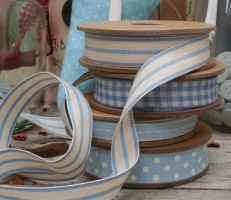 East of India cream and blue striped ribbon