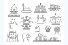 Amusement Park Line Design Icons by Decorwith.me Shop on Creative Market