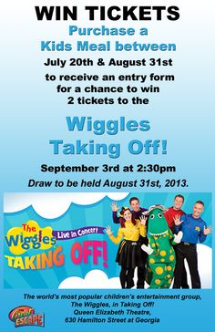Win tickets to see #Wiggles #Taking #Off Concert. Between July 20th and August 31, just purchase a Kids Meal and your name will go into the draw to win tickets.  www.thege.ca  #Family #Entertainment #Center in #Langley #BC, close to #Vancouver. The Wiggles, Win Tickets, The Great Escape, Outdoor Playground, August 31, Indoor Play, Training Center, Entertainment Center, Kids Meals