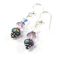 #Handmade #Sugilite and Pink #Amethyst #Earrings with AB finish and Swarovski Crystals #Silver #SolanaKaiDesigns @solanakaidesigns
