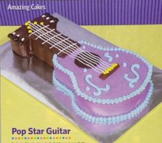 Pop Star Guitar Cake- no great instructions for how to cut it, but it looks easy enough and it was only 1 box of cake mix Guitar Birthday Cakes, Guitar Cake, Guitar Party, Rockstar Birthday, Happy Birthday, Birthday Ideas, 8th Birthday, Birthday Stuff, Birthday Parties