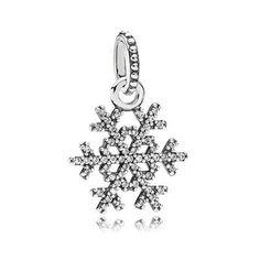 PANDORA   Подвеска из серебра в виде снежинки с кубическим цирконием, микропаве