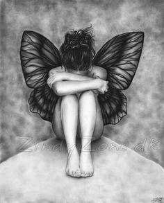 Sad Butterfly Girl Angel Art Print Glossy Emo Goth Girl Zindy Nielsen. $14.95, via Etsy.