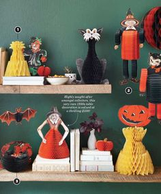 The Collector's Guide to Beistle Company's Vintage Halloween Party Goods SCARECROW WITH CORN SHOCK  This 1958 honeycomb decoration (1) opens full-round, making it the perfect party centerpiece. Revised in 1971 to include a more colorful scarecrow, both versions go for a modest $15-$20.