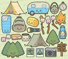 Premie Vector Clipart  Kawaii Camping Clipart  Kawaii