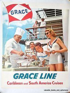 1957 Grace Line Caribbean Original Vintage Cruise Ship Travel Poster LINEN Litho