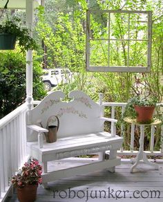 DIY Craft Projects using Old Vintage Windows and Doors.   (Pinned to remind me this would look great on our porch)  There are SO many ideas to use old vintage windows, from cabinet doors, to table tops, to a canopy for your bed, etc, etc.