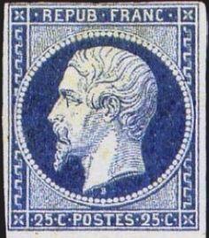 Codex Philately: The 25 cent Prince président Louis Napoléon blue timbre…