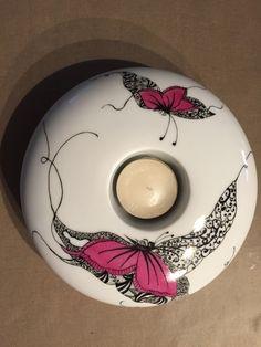 Lin Van Porcelaines Peinture sur porcelaine Bougeoirs, motifs fleurs, papillons,