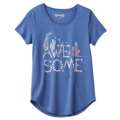 Girls 7-16 & Plus Size Mudd® Raw Edge Scoopneck Shiny Graphic Tee, Girl's, Size: 12, Blue (Navy)