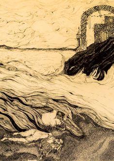 Hero and Leander ##mythology #greek #hero #leander #drawn #bodies #sea #story #island #
