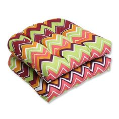 Pillow Perfect Outdoor Zig Zag Wicker Seat Cushion Raspberry Set of 2 * Click the VISIT button for detailed description