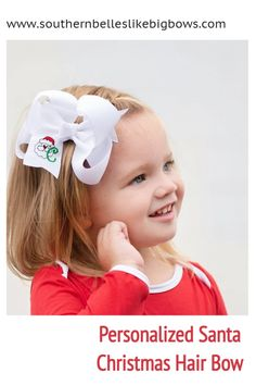 A personalized hair bow for Christmas that features an embroidered Santa with the initial letter of your choice.  Available in four different sizes and a variety of colors.  Our bows are carefully crafted to have a gorgeous boutique bow shape that stays full when worn. We craft the highest quality bows, selecting ribbon length and widths carefully for each size bow to offer the best possible shape. Christmas Hair Bows, Santa Christmas, Little Girl Outfits, Little Girls, Big Hair Bows, Christmas Accessories, Boutique Hair Bows, Cheer Bows, Custom Embroidery