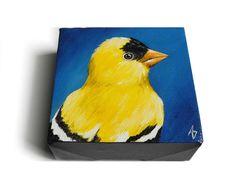 Gold Finch Bird Mini Canvas