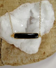 Black Onyx Bar Necklace Sideways Gemstone by julianneblumlo, $58.00