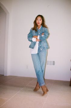 Aimee Song   White Button-Down Outfits   White Shirt Style White Leather Pants, Leather Pants Outfit, White Button Down Outfit, Song Of Style, My Style, Sleeveless Coat, Wide Leg Jeans, Street Style Women, Simple Style
