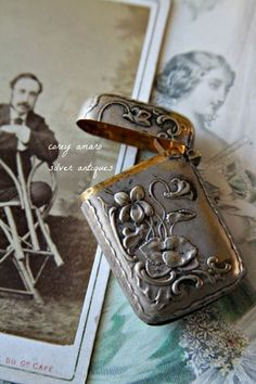 Antique French silver match holder