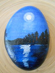 Hand Painted Stones,Home Decor,Painted Rock, Pebble,Acrylic moonlight by GiftsByChrisCrafts on Etsy