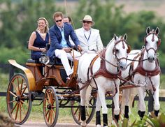 Brazil, March 2012: Prince Harry took the reins of a carriage pulled by two grey horses to drive on to the polo ground of the hotel and estate where the match was held