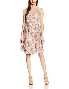 UK 8, Elfenbein (whisper white 8210), Tom Tailor Women's 2 Layer Summer Dress NE