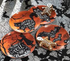 """Halloween Plate Sets Plate: 9"""" diameter Plate is crafted of melamine and features our exclusive artwork. Plate is BPA- and lead-free."""