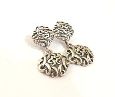 Sterling Silver Drop Earrings Scrollwork Signed by SweetLenasRetro, $20.00