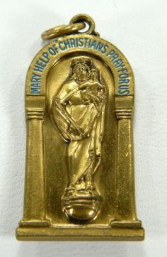 Mary Help of Christians Pray For Us Bronze Medal National Shrine Washington DC 15452 by QueeniesCollectibles on Etsy