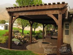 Amazing Modern Pergola Patio Ideas for Minimalist House. Many good homes of classical, modern, and minimalist designs add a modern pergola patio or canopy to beautify the home. Diy Pergola, Timber Pergola, Pergola Canopy, Outdoor Pergola, Outdoor Fire, Outdoor Living, Pergola Ideas, Pergola Kits, Pergola Lighting