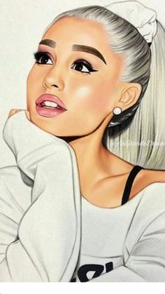 she's honestly a queen Ariana Grande Anime, Ariana Grande Drawings, Ariana Grande Fans, Ariana Grande Wallpaper, Ariana Grande Pictures, Adriana Grande, Girly Drawings, Celebrity Drawings, Black Girl Art
