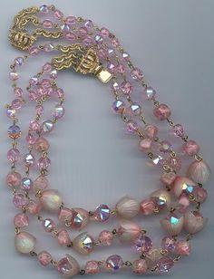Vintage pink 3 strand necklace