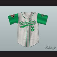 Kofi Evans 8 Kekambas Pinstriped Baseball Jersey with ARCHA and Duffy's Patches. STITCH SEWN GRAPHICS AND EMBROIDERED PATCHES CUSTOM BACK NAME CUSTOM BACK NUMBER ALL SIZES AVAILABLE SHIPPING TIME 3-5 WEEKS WITH ONLINE TRACKING NUMBER Be sure to compare your measurements with a jersey that already fits you. Please consider ordering a larger size, if you prefer a loose fit.  HOW TO CALCULATE CHEST SIZE: Width of your Chest plus Width of your Back plus 4 to 6 inches to account for space for a…