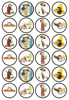 Curious George 24 x Edible Premium by CiansCupcakeToppers Curious George Cupcakes, Curious George Party, Curious George Birthday, Baby 1st Birthday, 2nd Birthday Parties, Birthday Ideas, Paper Cupcake, Wafer Paper, Bottle Cap Images