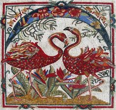 Red Flamingos Marble Mosaic - Home Decoration