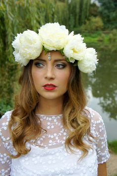 cream peony flower crown with jewel drop bindi  by fairyringsshop