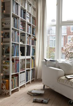 Reading nook with Ikea Ivar bookshelves. Sweet Home, Ivar Regal, Home Libraries, Home And Deco, My Dream Home, Home Design, Design Ideas, Interior And Exterior, Interior Paint