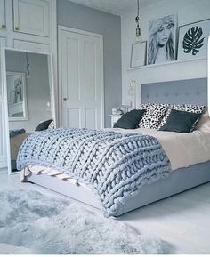 Like the style of the bedframe and the gray quilt